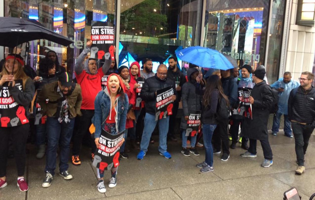 AT&T Strike on Michigan Avenue in Chicago, IL