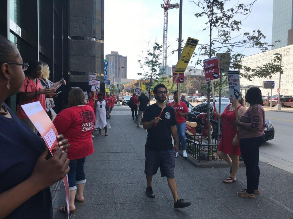 Local 411 joins the AT&T picket line in solidarity
